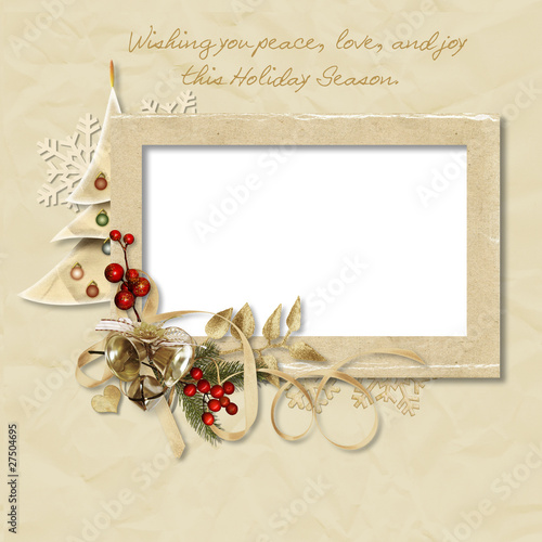Vintage Christmas frame with the wishes