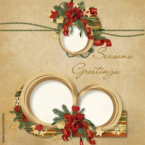 Fotobehang Retro Gorgeous Christmas frame