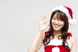 a portrait of santa woman isorated on white background