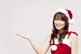 a portrait of santa woman isolated on white background