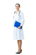 Full body portrait of female doctor or nurse with blue folder