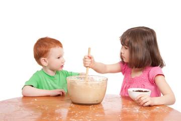 Kids talking while baking