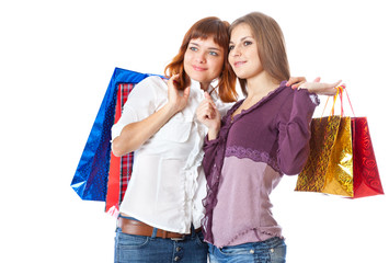Two teen girls with bags