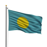 Flag of Palau waving in the wind in front of white background
