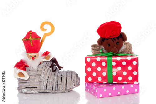 Dutch Sinterklaas celebration with gifts and a hoe with Sint en