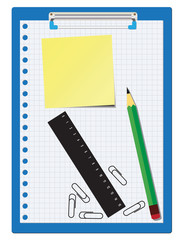 Office supplies over a white background