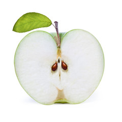 Fresh sliced green apple with leave