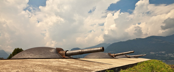 Artillery turrets at Fort Montecchio, Colico, Italy.