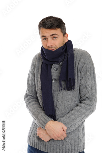 Portrait of handsome sick man in scarf. isolated on white backgr