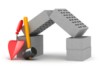 Build a home concept : hammer trowel and bricks