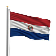 Flag of Paraguay waving in the wind in front of white background