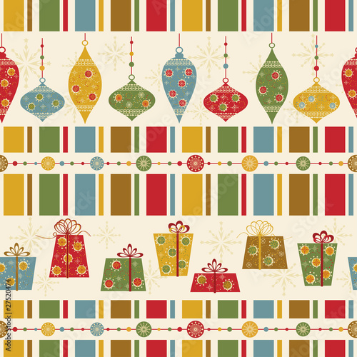 Seamless pattern with decorated balls and gifts