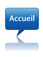 """Icône Bulle """"ACCUEIL"""" (message page d'accueil bienvenue bouton)"""
