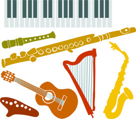 Set of a various musical instruments A