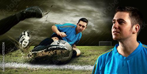 Staande foto Voetbal Portrait of Soccer player on the field in night rain