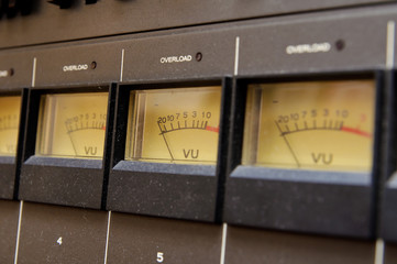 VU meter on professional audio equipment