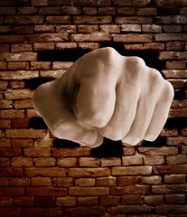 fist punching thru a brick wall, grunge color