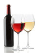 Two glasses of wine and a bottle isolated over white background