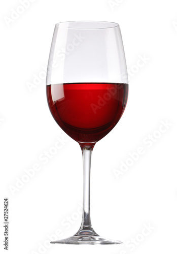 Spoed canvasdoek 2cm dik Wijn Red wine glass isolated on white background