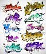 Graffiti vector background collection