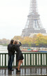 Couple in Paris at rainy weather