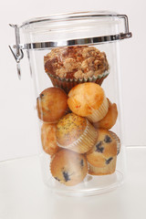 Muffins and cupcakes in airtight container