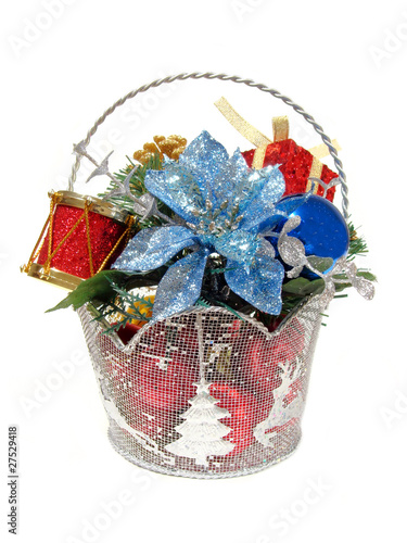 Decorative Christmas basket centerpiece