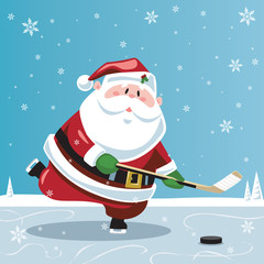 Santa Claus playing hockey