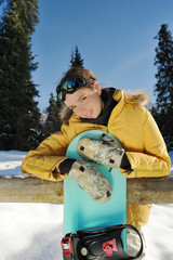 Snowboarder girl-smiling