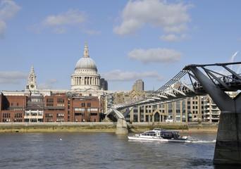 Millennium Bridge and St Pauls Cathedral, London