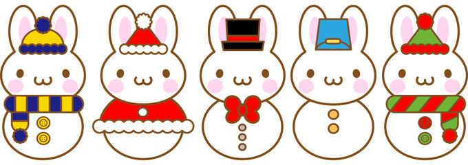 うさぎ クリスマス 雪だるま5