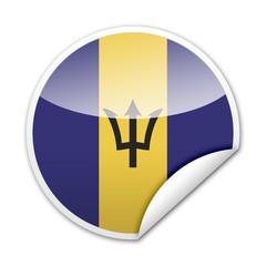 Pegatina bandera Barbados con reborde