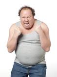 homme obèse en furie en rage poster