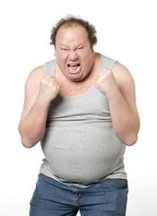 homme obèse en furie en rage