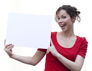 femme montrant message à insérer