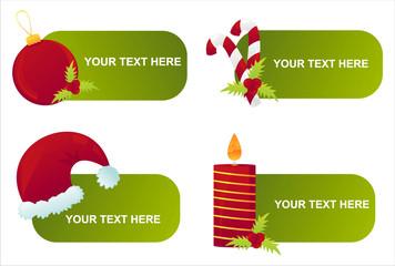 set of 4 christmas banners
