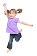 Adorable little girl jumping in air. isolated on white