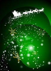 Weihnachtsmann mit Rentierschlitten mit abstraktem Hintergrund