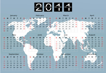 Calendar 2011 World map