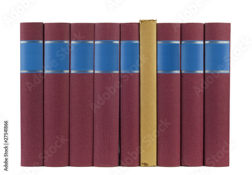 books in a row, isolated, free copy space