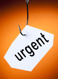 urgent mot accroché à hameçon crochet poster