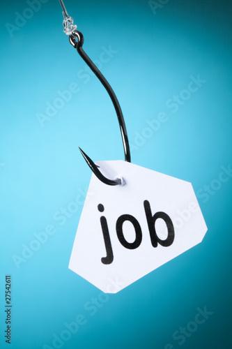 job mot travail accroché à hameçon crochet