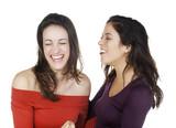 deux jeunes femmes complices souriantes poster