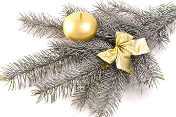silver tree branch as Christmas decoration