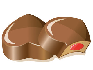 chocolate candies as a heart  vector illustration