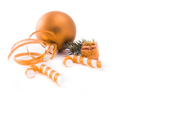 christmas decoration with cane on white background