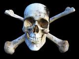 Skull and crossbones in 3D poster