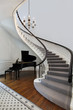 Staircase with piano