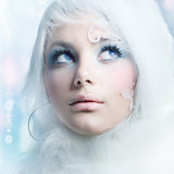 Winter Beauty.High-key Fashion Art.Perfect makeup