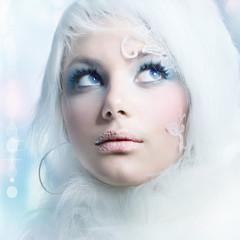Winter Beauty.High-key Fashion Art.Perfect makeup